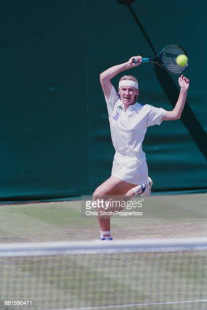 Czech tennis player Jana Novotna pictured in action during progress to reach the quarterfinals of the Women's Singles tournament at the Wimbledon...