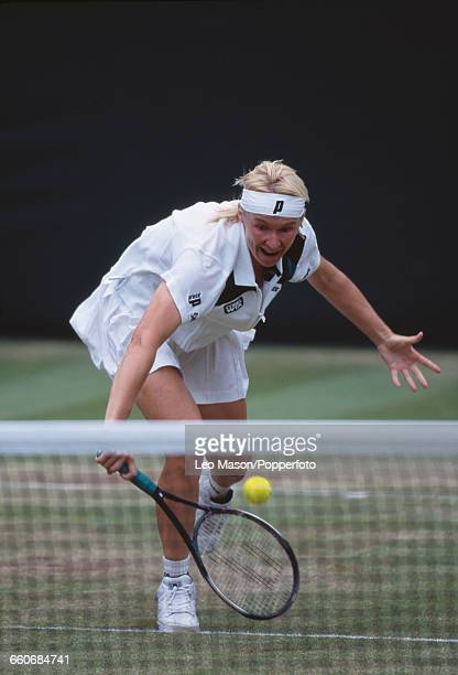 Czech tennis player Jana Novotna pictured in action during the final of the Ladies' Singles tournament at the Wimbledon Lawn Tennis Championships at...