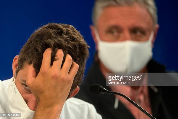 Czech tennis player Jiri Vesely and the captain of the Czech Davis Cup team Jaroslav Navratil attend a press conference on the eve of the Czech...