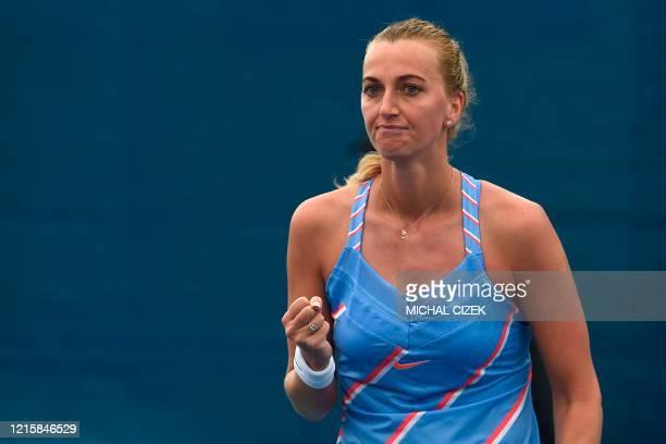 Czech tennis player Petra Kvitova reacts after she defeated her compatriot Karolina Muchova in the final tennis match of the Czech Tennis Association...
