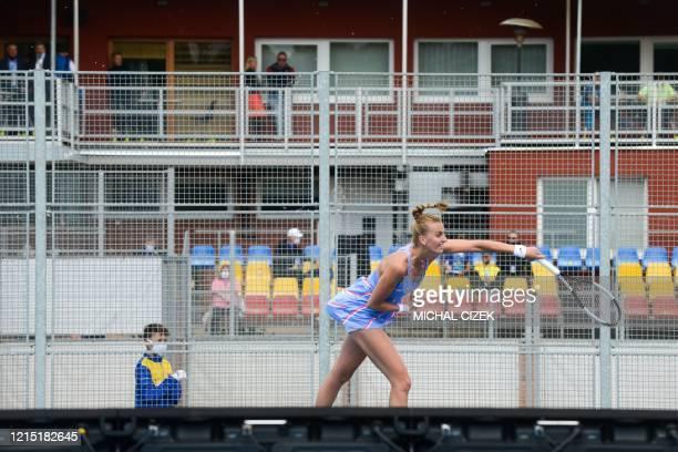 Czech tennis player Petra Kvitova returns a ball to Czech Barbora Krejcikova during their match of the Czech Tennis Association President's Cup on...
