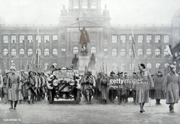 Czech troops accompany President Thomas Masaryk in Prague, 25th December 1918.