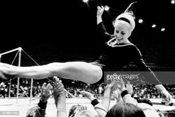 Czech Vera Caslavska performs her routine on the beam at the Olympic Games in Mexico on October 23 1968 The Czech gymnast won the all around...