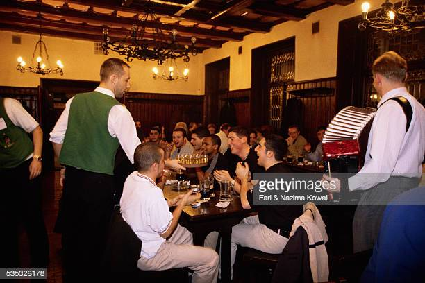 czech waiter offering tourists becherovka - accordionist stock pictures, royalty-free photos & images