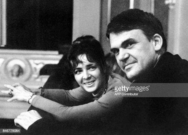 Czech writer Milan Kundera poses with his wife in Prague 14 October 1973 Novelist born in Brno Czech Republic Kundera lectured in Cinematographic...