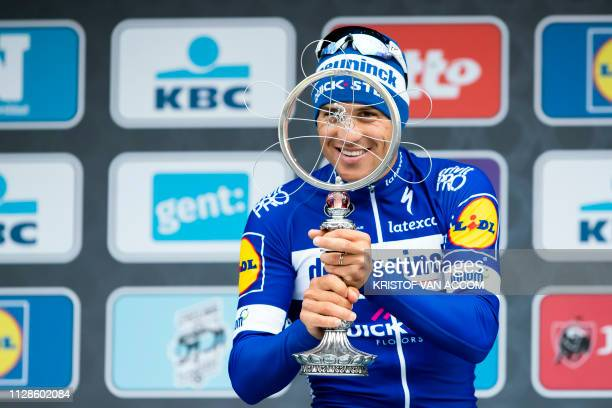 Czech Zdenek Stybar of Deceuninck - Quick-Step celebrates on the podium after winning the men's race of 74th edition of the one-day cycling race...