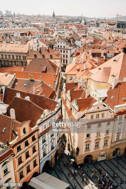 czechia, prague, cityscape seen from the old town hall - czech republic stock pictures, royalty-free photos & images