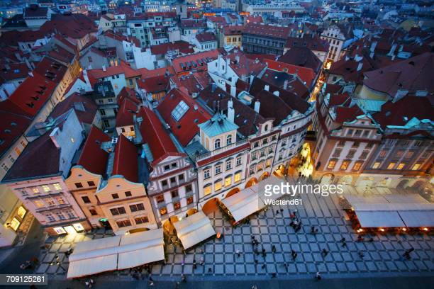 Czechia, Prague, cityscape with Old Town Square at dusk