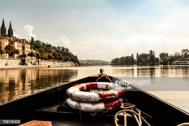 czechia, prague, ship's bow with lifesavers on vltava - vltava river stock photos and pictures
