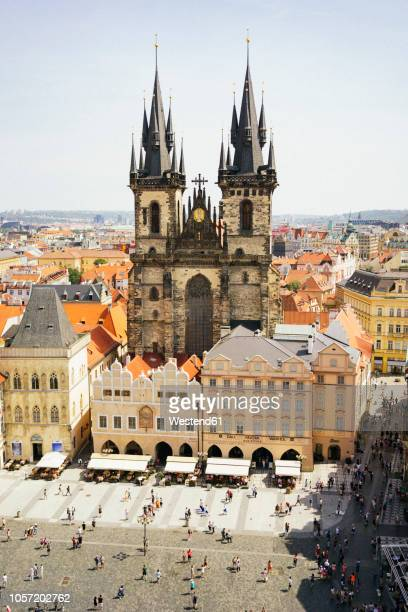 czechia, prague, view to church of our lady from the old town hall - プラハ 旧市街広場 ストックフォトと画像