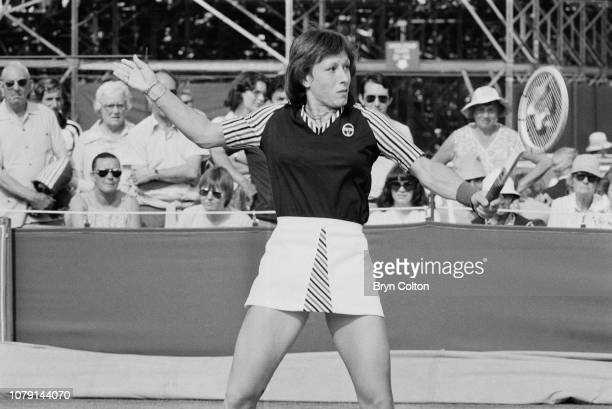 Czechoslovak and later American tennis player Martina Navratilova plays tennis on the outdoor grass court at Devonshire Park during the Colgate...