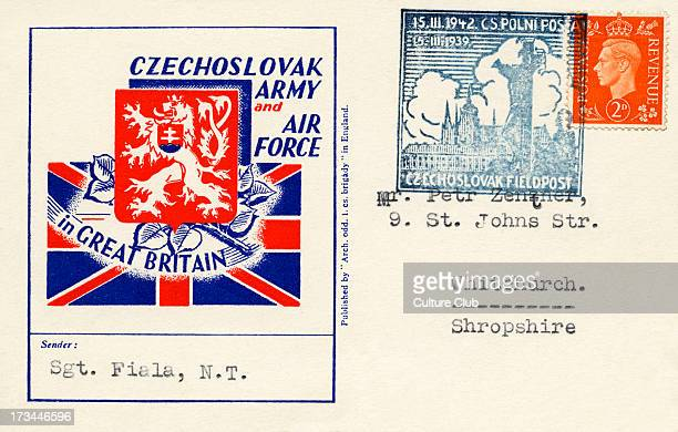Czechoslovak Army and Air Frorce in Great Britain - postcard sent 15 March 1939 by Czechoslovak Fieldpost.