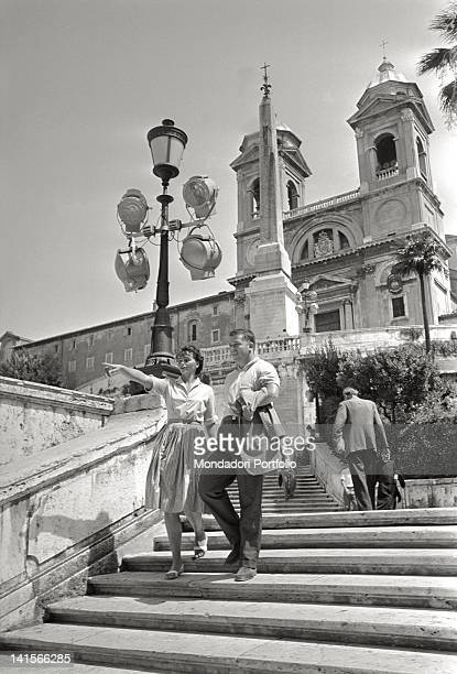 Czechoslovak athlete Olga Fikotova strolling with her husband American athlete Harold Connolly during the Rome Olympic Games Rome August 1960