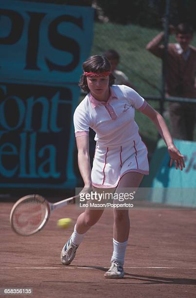 Czechoslovak tennis player Hana Mandlikova pictured in action competing for Czechoslovakia to reach the semifinals of the 1979 Federation Cup tennis...