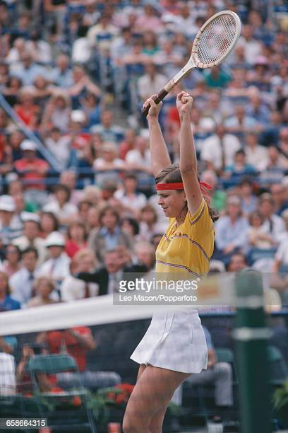Czechoslovak tennis player Hana Mandlikova pictured in action competing to reach the final of the 1980 US Open Women's Singles tennis tournament at...