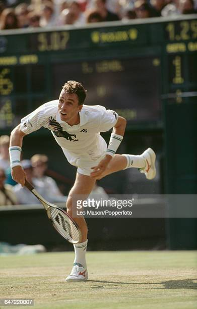 Czechoslovak tennis player Ivan Lendl pictured in action competing to reach the semifinals in the Men's Singles tournament at the Wimbledon Lawn...