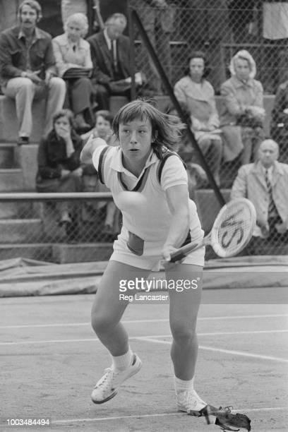 Czechoslovak tennis player Martina Navratilova in action UK 18th September 1973