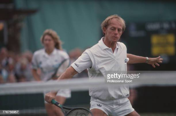 Czechoslovak tennis player Pavel Slozil and West German tennis player Steffi Graf pictured in action during competition to reach the second round of...