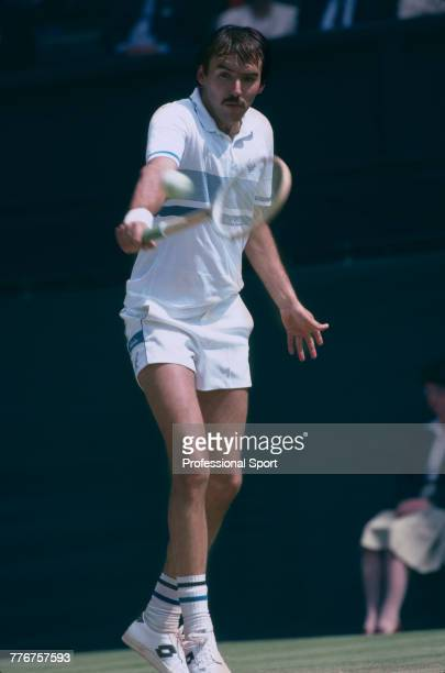 Czechoslovak tennis player Tomas Smid pictured in action during competition to reach the third round of the Men's Singles tennis tournament at the...