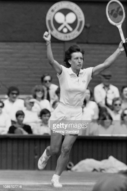 CzechoslovakAmerican professional tennis player and coach Martina Navratilova celebrates her success at Wimbledon Women's Singles Quarterfinals...
