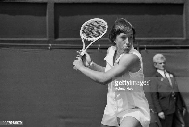 Czechoslovak-American tennis player Martina Navratilova in action at Wimbledon Championships, All England Lawn Tennis and Croquet Club, London, UK,...