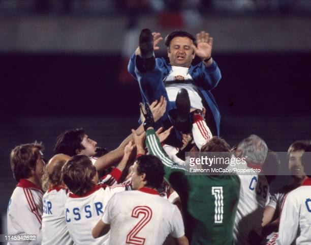 Czechoslovakia manager Jozef Venglos is lifted up in the air by his players and staff after the UEFA Euro 1980 Third Place Play-Off match between...