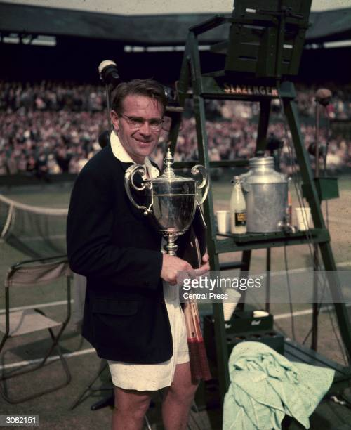 Czechoslovakian athlete and tennis player Jaroslav Drobny after winning the Men's Singles at Wimbledon