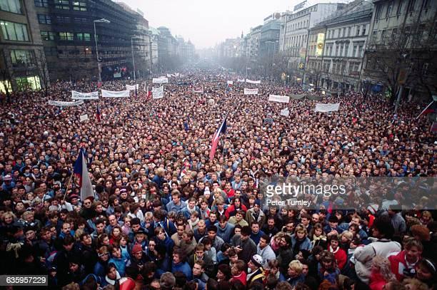 Czechoslovakian citizens flood the streets of Prague during the Velvet Revolution.