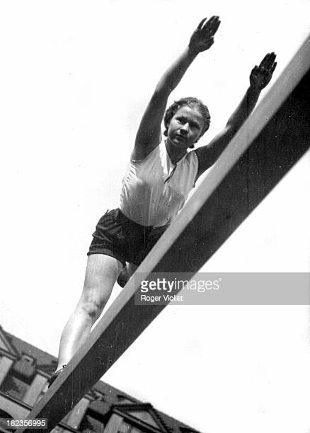 A Czechoslovakian gymnast member of a Sokol movement training for the Berlin Summer Olympics 1936