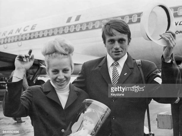 Czechoslovakian gymnast Vera Caslavska and her husband runner Josef Odlozil arrive at Orly Airport near Paris France en route to Prague 29th October...