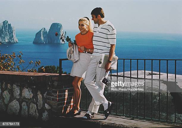 Czechoslovakian gymnast Vera Caslavska who won four gold medals at the 1968 Summer Olympics pictured with her husband Czech middle distance runner...