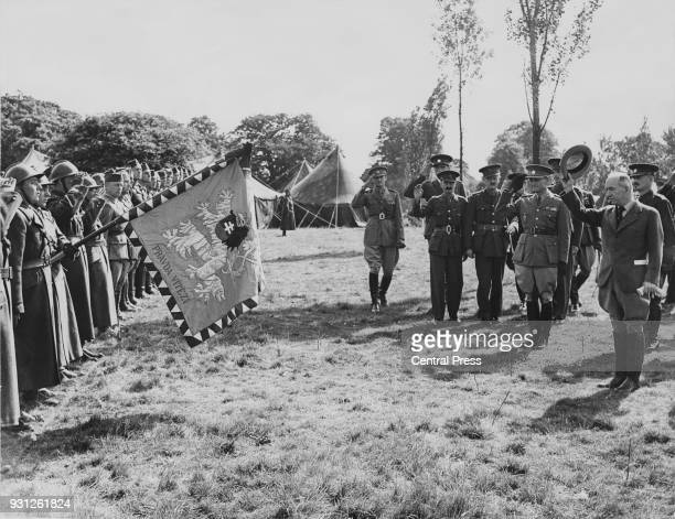 Czechoslovakian leader in exile Dr Edvard Benes inspects Czech troops stationed in the north of England during World War II 26th July 1940 'Pravda...