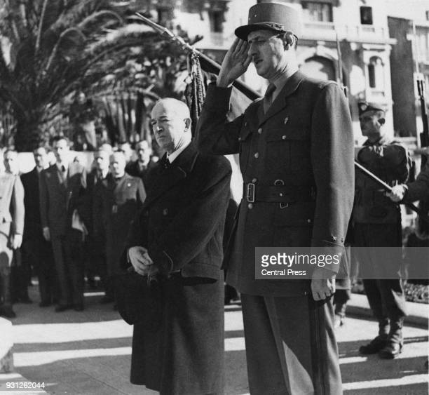 Czechoslovakian leader in exile Dr Edvard Benes watches a marchpast of French troops in Algiers Algeria with French General Charles de Gaulle January...