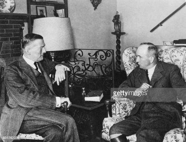 Czechoslovakian President Dr Edvard Benes with British statesman Austen Chamberlain circa 1936