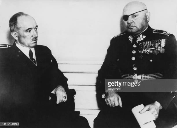 Czechoslovakian President Dr Edvard Benes with General Jan Syrovy of the Czechoslovak Army circa 1938