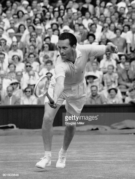 Czechoslovakian tennis player Vladimir Cernik in play against Ted Schroeder of the United States during the Men's Singles at Wimbledon London 25th...