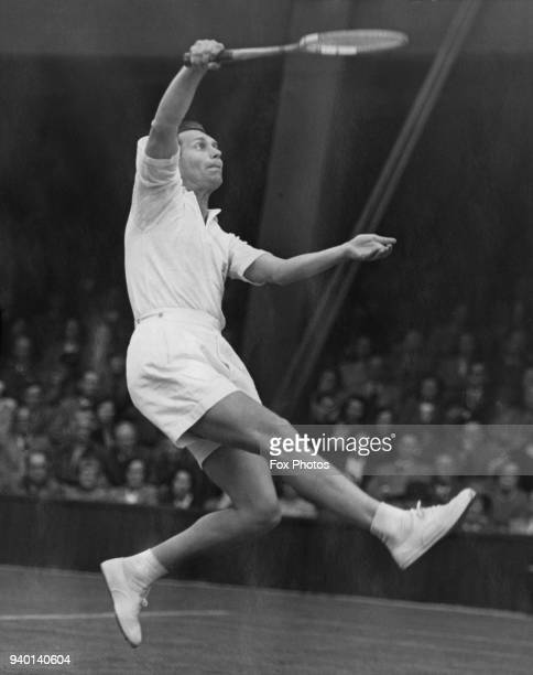 Czechoslovakian tennis player Vladimir Cernik plays Geoffrey Paish of Great Britain on the Number 1 court at Wimbledon London during the Davis Cup...