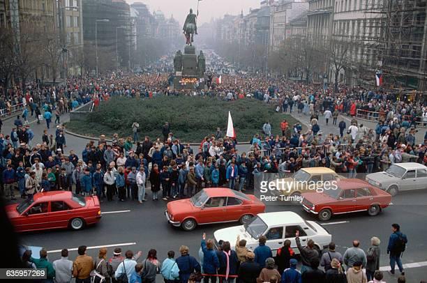 Czechoslovakians Converge in Wenceslas Square during the Velvet Revolution.