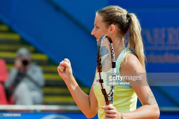 CzechRepublic's Karolina Pliskova in action against Ukraine's Elina Svitolina during the semifinal match at the WTAtour in Nuremberg Germany 23 May...