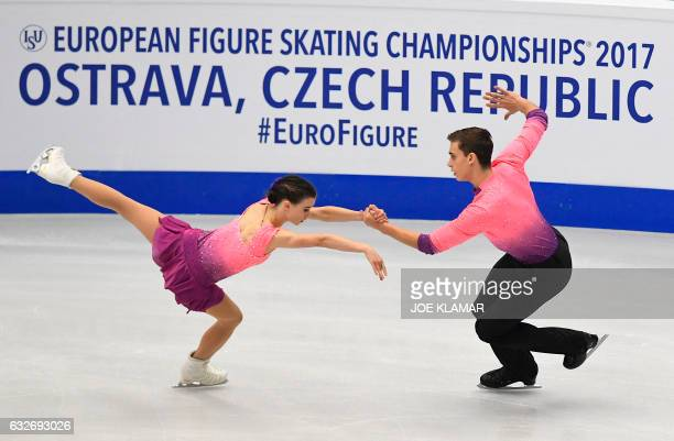 Czech's Anna Duskova and Martin Bidar compete during the pairs free short program of the European Figure Skating Championship in Ostrava on January...