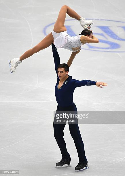 Czech's Anna Duskova and Martin Bidar compete during the pairs free skating competition of the European Figure Skating Championship in Ostrava Czech...