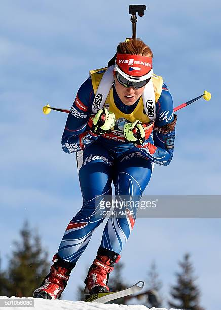 Czech's Gabriela Soukalova competes during the women's 10 km pursuit event during IBU World Cup in biathlon in Hochfilzen on December 12, 2015. AFP...