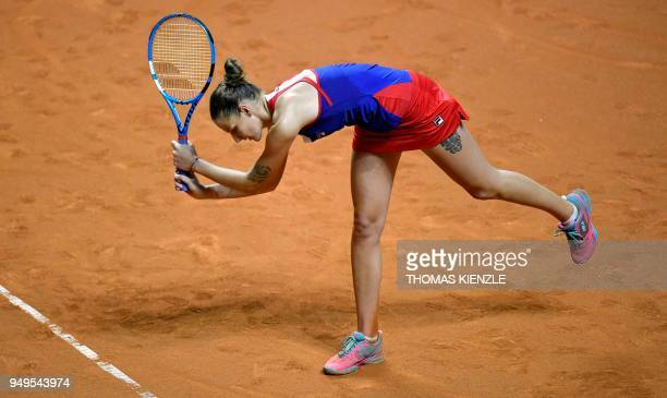 Czech's Karolina Pliskova reacts in her match against Germany's Angelique Kerber during their match of the tennis Fed Cup semifinal between Germany...