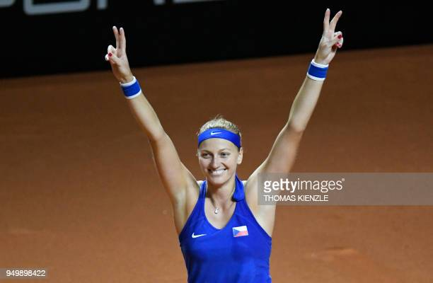 Czech's Petra Kvitova reacts after defeating Germany's Angelique Kerber during the tennis FedCup World Group semifinal between Germany and Czech...