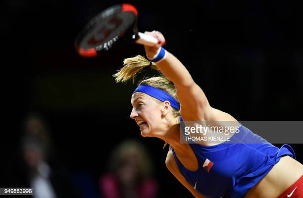 Czech's Petra Kvitova serves to Germany's Angelique Kerber during their match of the tennis FedCup World Group semifinal between Germany and Czech...