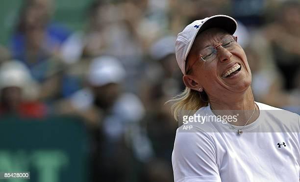 Czech-US former tennis champion Martina Navratilova laughs during her charity tennis exhibition against Argentina's former tennis player Gabriela...
