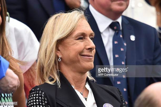 CzechUS retired tennis player Martina Navratilova takes her seat in the royal box for the women's singles final between US player Venus Williams and...