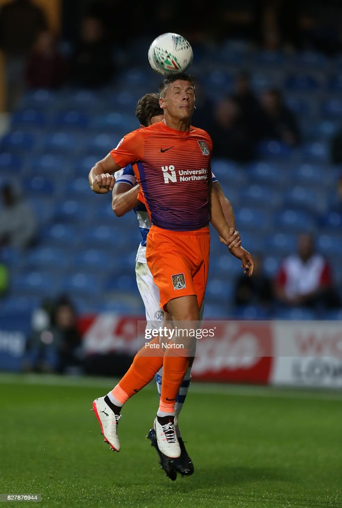 d Alex Revell of Northampton Town attempts to head the ball during the Carabao Cup first round match between Queens Park Rangers and Northampton Town at Loftus Road on August 8, 2017 in London, England.