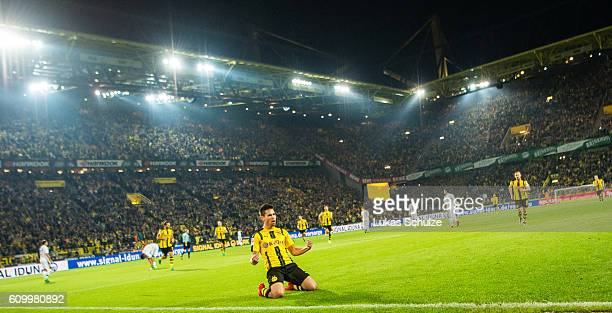 d13 celebrates his goal for 31 during the Bundesliga match between Borussia Dortmund and SC Freiburg at Signal Iduna Park on September 23 2016 in...