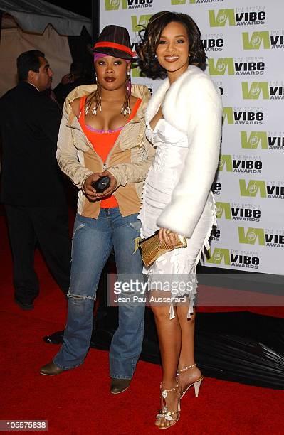 Da Brat and LisaRaye during 2004 Vibe Awards Arrivals at Barker Hanger in Santa Monica California United States